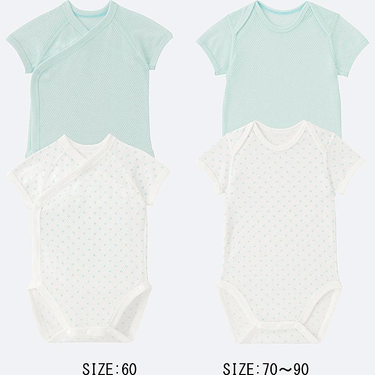 BABY COTTON MESH SHORT-SLEEVE BODYSUIT 2-PACK, LIGHT BLUE, large