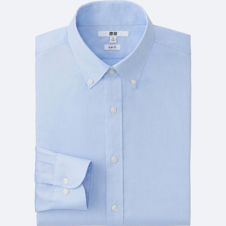 MEN EASY CARE SLIM-FIT OXFORD LONG-SLEEVE SHIRT, LIGHT BLUE, large