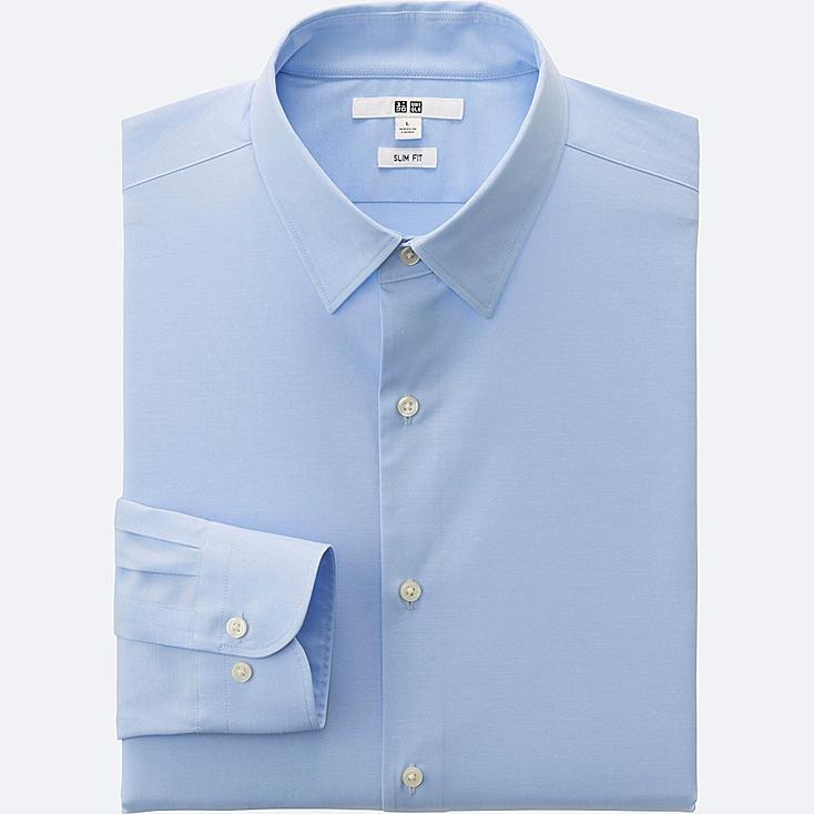 MEN EASY CARE SLIM-FIT BROADCLOTH LONG SLEEVE SHIRT, LIGHT BLUE, large