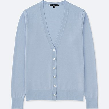 WOMEN EXTRA FINE MERINO V-NECK CARDIGAN, LIGHT BLUE, medium
