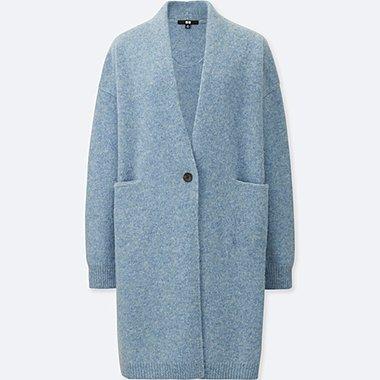 WOMEN MELANGE WOOL COAT, LIGHT BLUE, medium