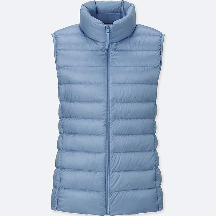 Women Ultra Light Down Vest, LIGHT BLUE, large
