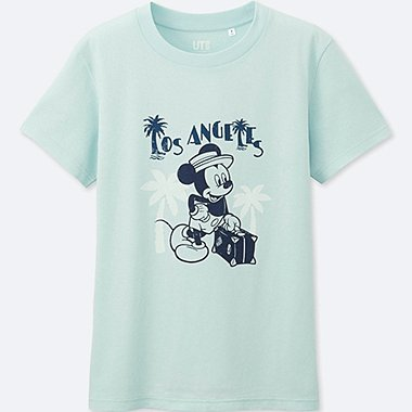 WOMEN MICKEY TRAVELS SHORT-SLEEVE GRAPHIC T-SHIRT, LIGHT BLUE, medium