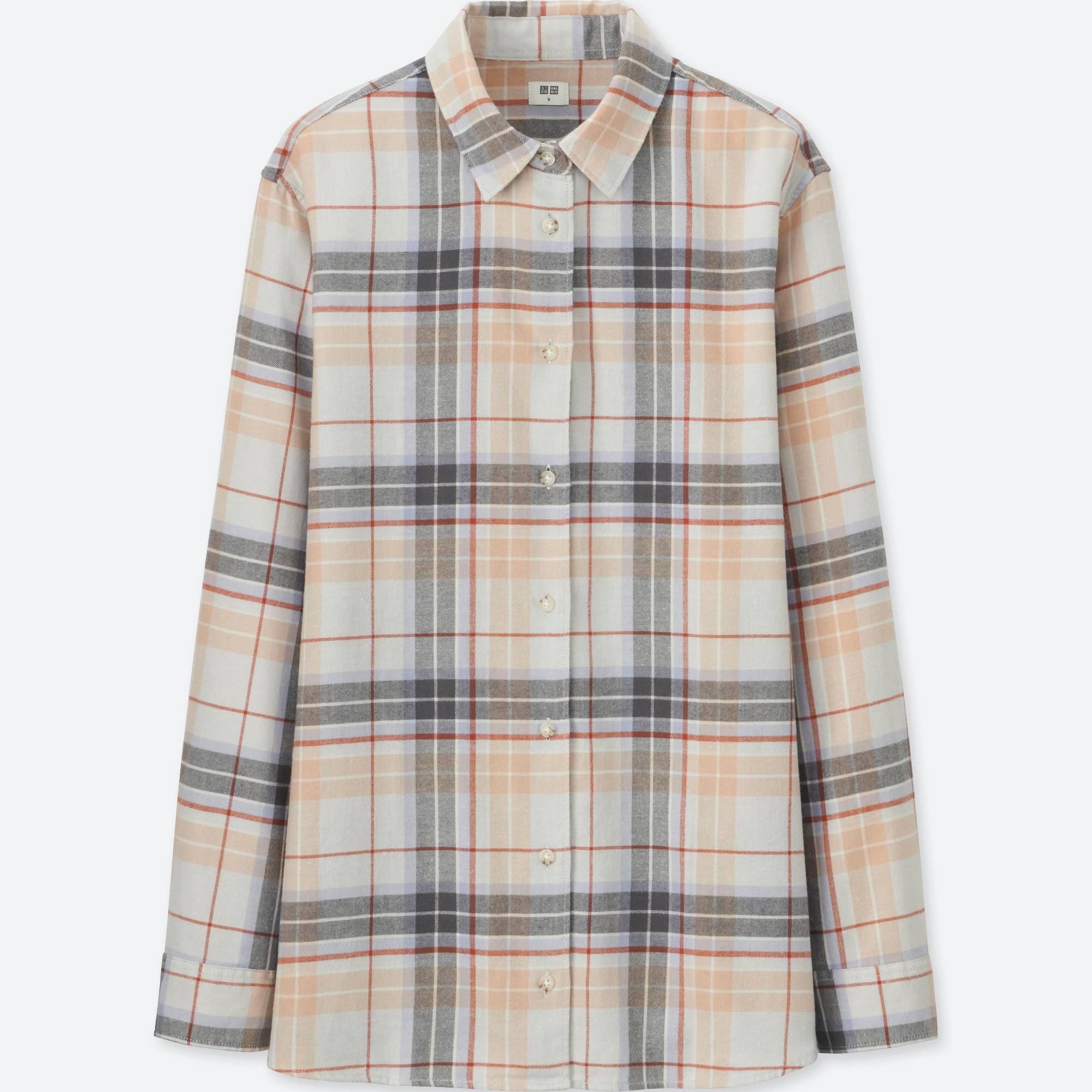 WOMEN FLANNEL CHECKED LONG-SLEEVE SHIRT   UNIQLO US