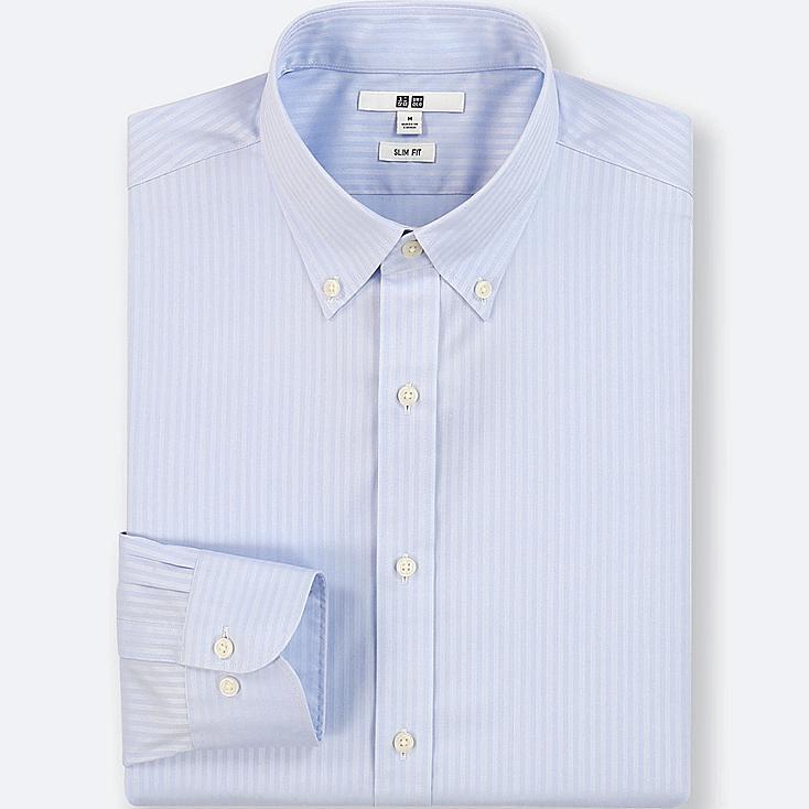 MEN EASY CARE DOBBY SLIM-FIT LONG-SLEEVE SHIRT, LIGHT BLUE, large