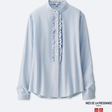 WOMEN INES OXFORD FRILL LONG SLEEVE SHIRT