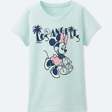 GIRLS MICKEY TRAVELS SHORT-SLEEVE GRAPHIC T-SHIRT, LIGHT BLUE, medium