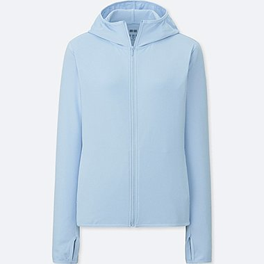 WOMEN AIRism UV CUT LONG SLEEVE MESH HOODIE, LIGHT BLUE, medium