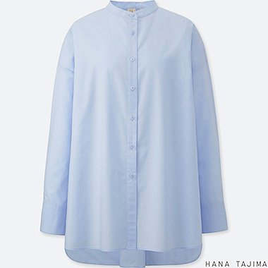 WOMEN HANA TAJIMA EXTRA FINE COTTON STAND COLLAR LONG SLEEVE SHIRT