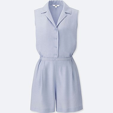WOMEN RAYON SLEEVELESS ROMPER, LIGHT BLUE, medium