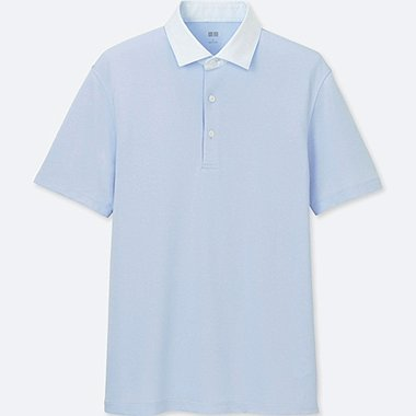 MEN AIRism SHIRT COLLAR POLO SHIRT, LIGHT BLUE, medium