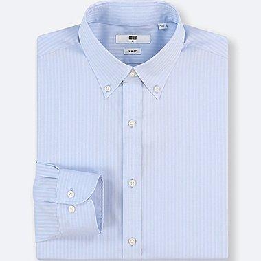MEN EASY CARE DOBBY STRETCH SLIM-FIT LONG-SLEEVE SHIRT, LIGHT BLUE, medium
