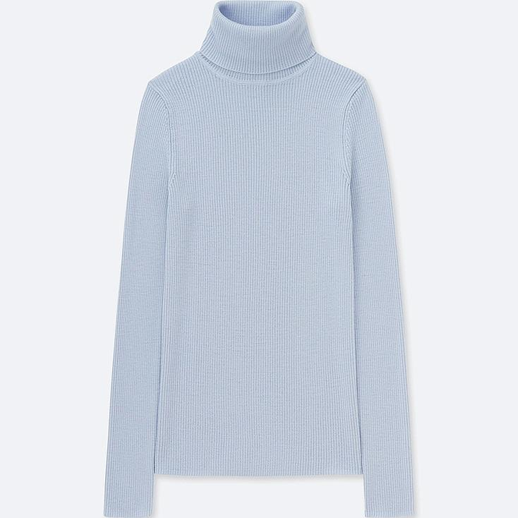 WOMEN EXTRA FINE MERINO RIBBED TURTLENECK SWEATER, LIGHT BLUE, large