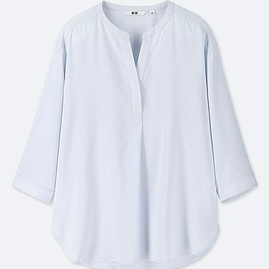 WOMEN RAYON V NECK 3/4 SLEEVED BLOUSE