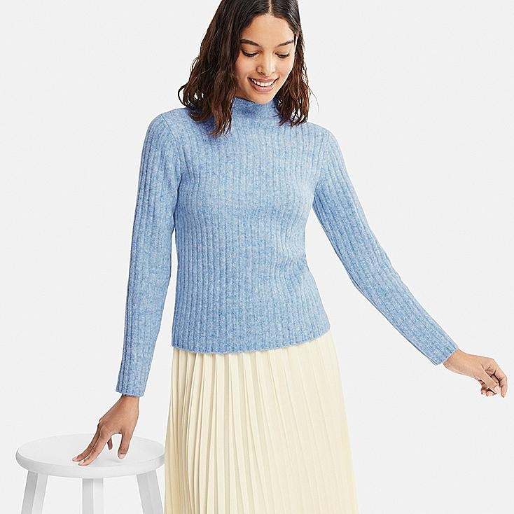 WOMEN WIDE-RIBBED MOCK NECK SWEATER, LIGHT BLUE, large