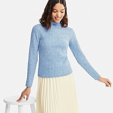 WOMEN WIDE-RIBBED MOCK NECK SWEATER, LIGHT BLUE, medium