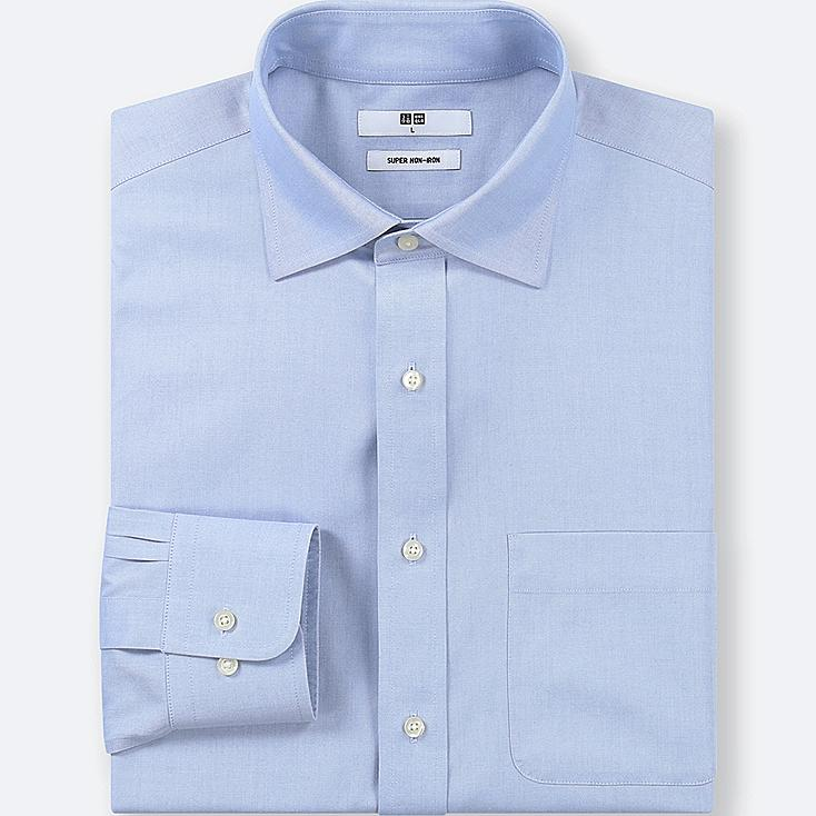 MEN SUPER NON-IRON REGULAR-FIT LONG-SLEEVE SHIRT, LIGHT BLUE, large