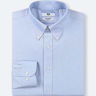 MEN SUPER NON-IRON SLIM-FIT LONG-SLEEVE SHIRT, LIGHT BLUE, medium