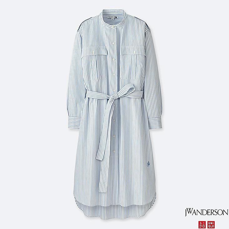 WOMEN JWA EXTRA FINE COTTON SHIRT STRIPE LONG-SLEEVE DRESS, LIGHT BLUE, large