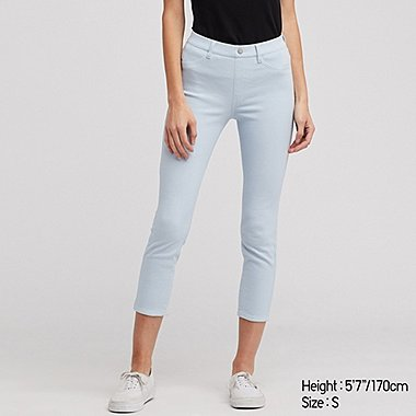 WOMEN ULTRA STRETCH CROPPED LEGGINGS PANTS, LIGHT BLUE, medium
