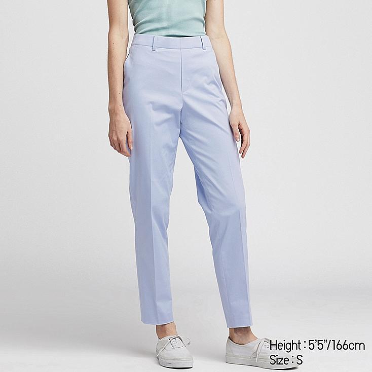WOMEN EZY SATIN ANKLE PANTS, LIGHT BLUE, large