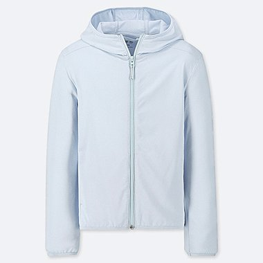 KIDS AIRism UV CUT LONG-SLEEVE MESH HOODIE, LIGHT BLUE, medium