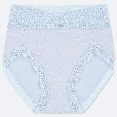 WOMEN HIGH-RISE DOT-PRINT BRIEFS, LIGHT BLUE, medium