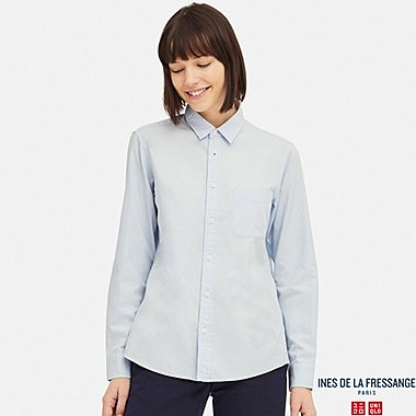 WOMEN COTTON TWILL LONG-SLEEVE SHIRT (INES DE LA FRESSANGE), LIGHT BLUE, medium