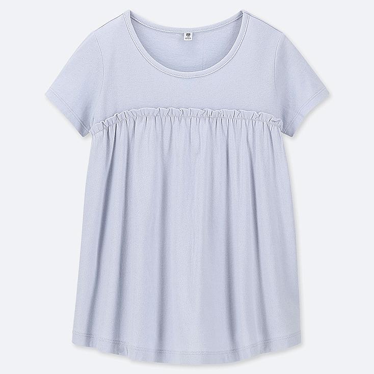 GIRLS GATHERED FRILL CREW NECK SHORT-SLEEVE T-SHIRT, LIGHT BLUE, large