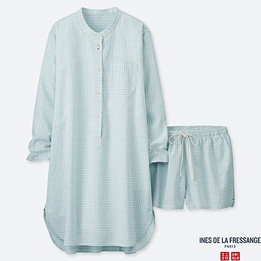WOMEN COTTON LINEN LONG-SLEEVE PAJAMAS (INES DE LA FRESSANGE), LIGHT BLUE, medium