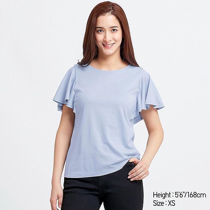 WOMEN RUFFLE SLEEVE SHORT-SLEEVE T-SHIRT, LIGHT BLUE, large