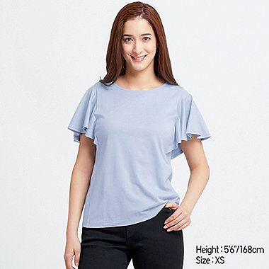 WOMEN RUFFLE SLEEVE SHORT-SLEEVE T-SHIRT, LIGHT BLUE, medium