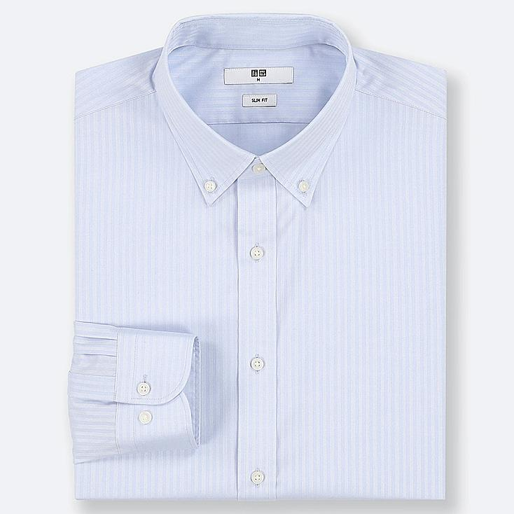 MEN EASY CARE DOBBY STRETCH SLIM-FIT LONG-SLEEVE SHIRT, LIGHT BLUE, large