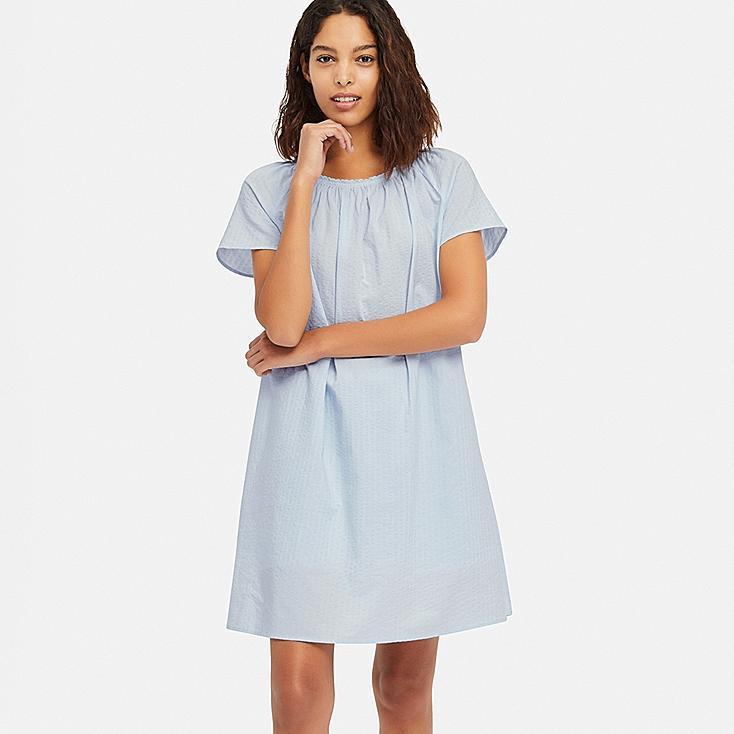 WOMEN COTTON PAJAMAS SHORT-SLEEVE DRESS SET, LIGHT BLUE, large