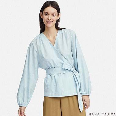 WOMEN CACHE COEUR LONG-SLEEVE BLOUSE (HANA TAJIMA), LIGHT BLUE, medium