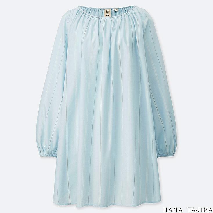 WOMEN GATHERED STRIPED LONG-SLEEVE TUNIC (HANA TAJIMA), LIGHT BLUE, large