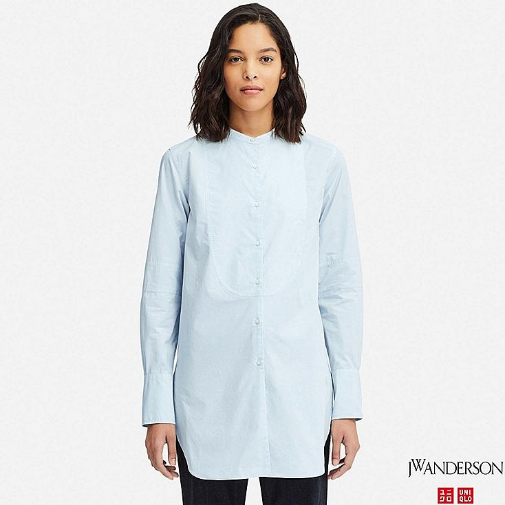 WOMEN TUXEDO LONG-SLEEVE LONG SHIRT (JW Anderson), LIGHT BLUE, large