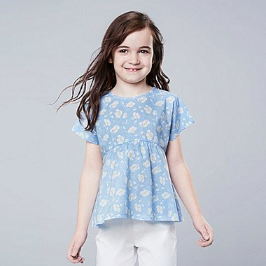 GIRLS STUDIO SANDERSON FOR UNIQLO SHORT-SLEEVE BLOUSE, LIGHT BLUE, medium