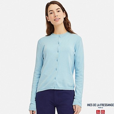 WOMEN COTTON CASHMERE CREW NECK CARDIGAN (INES DE LA FRESSANGE), LIGHT BLUE, medium