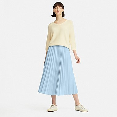 WOMEN PLEATED LONG SKIRT, LIGHT BLUE, medium