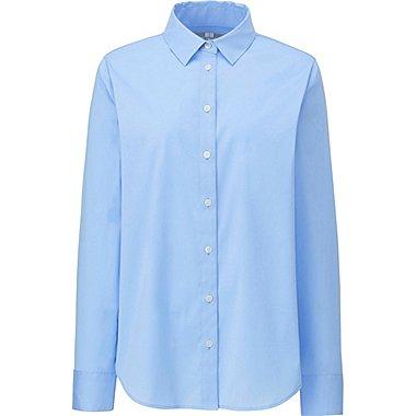 WOMEN SUPIMA COTTON STRETCH LONG SLEEVE SHIRT, BLUE, medium