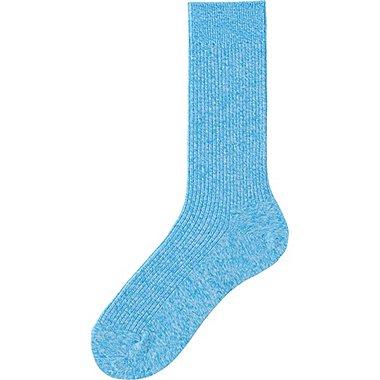 Mens Colored Calf Length Socks, BLUE, medium