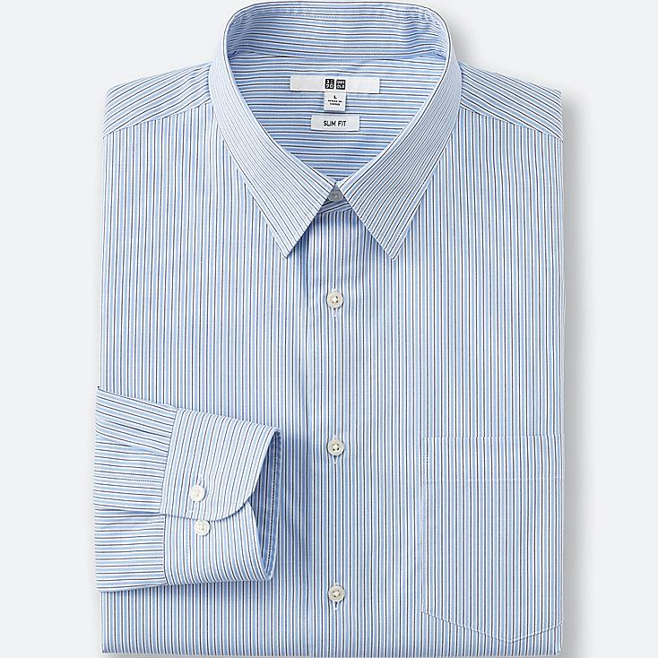 Men's Easy Care Oxford Slim-Fit Dress Shirt, BLUE, large