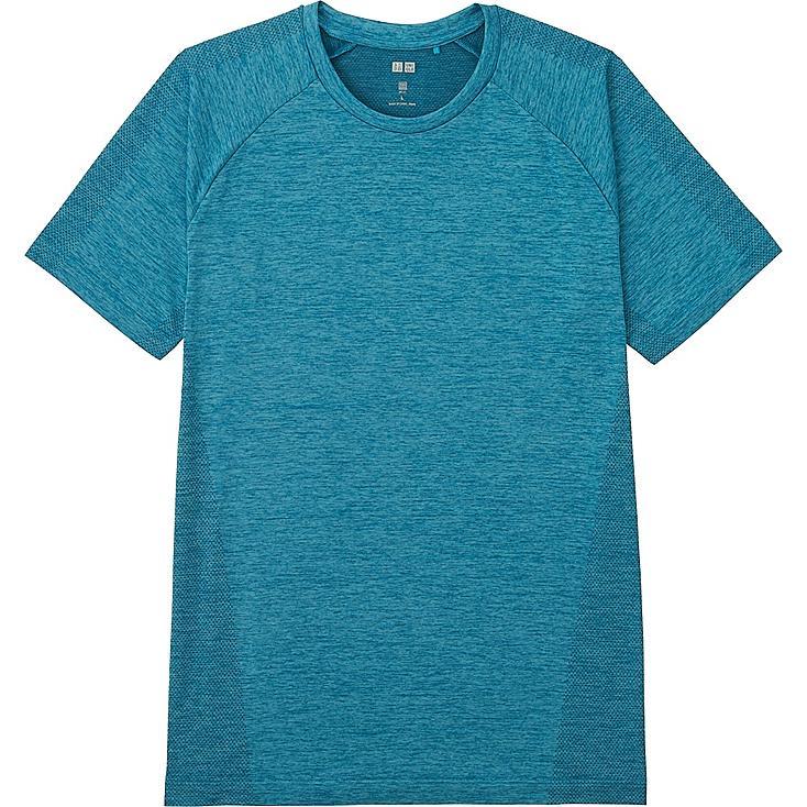 Men's DRY-EX Crew Neck T-Shirt, BLUE, large