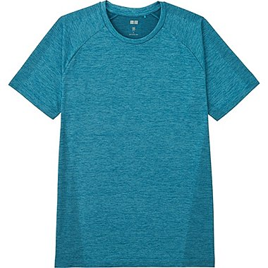 Mens DRY-EX Crew Neck T-Shirt, BLUE, medium