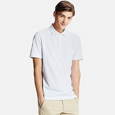Mens DRY Button-Down Collar Polo (Semi-Wide), BLUE, medium