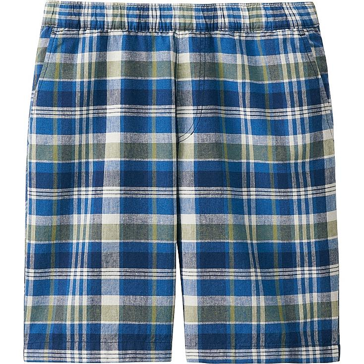 Men's Linen Cotton Elastic Waist Shorts, BLUE, large
