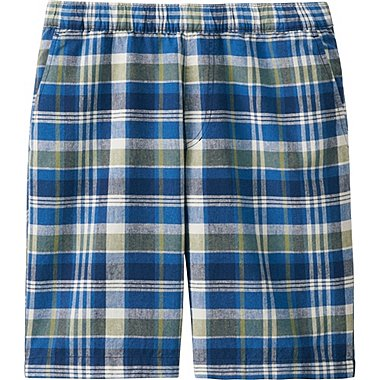 Mens Linen Cotton Elastic Waist Shorts, BLUE, medium