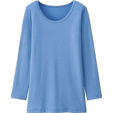 Kids HEATTECH Long Sleeve Scoopneck T-Shirt, BLUE, medium
