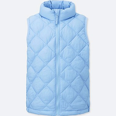 GIRLS LIGHT WARM PADDED VEST, BLUE, medium
